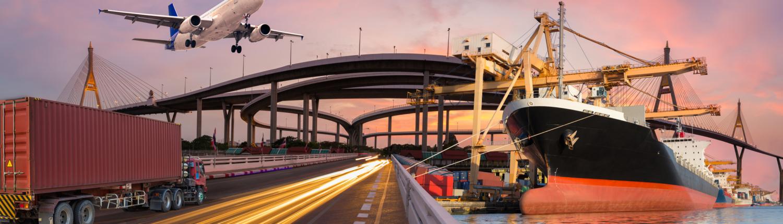 Panoramabild von Transport und Logistik