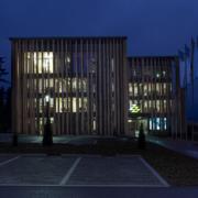 Verwaltungsgebaeude der Ziegler Group bei Nacht